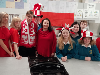 Students and members of the Parents Council launching 'A Polish Christmas' which takes place in the school next week.
