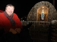Cllr Terry O'Brien in front of the Grotto in Blennerville which has a new light after four years. Photo by Dermot Crean