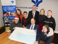 At the presentation of a cheque for €17,000 to Inspired by Bon Secours Hospital was, front from left; Stephen Buckley, TJ O'Connor of Bon Secours and Fiona McCarthy. At back; Liz Maher, Manager of Inspired;  Orthopaedic Services Manager Hilary Fitzgerald, Owen McCarthy, Hospital Mission Leader; Fran Malone and David Malone of Inspired. Photo by Dermot Crean