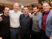 Mikey Collins, Kevin Leen, John O'Connor, Garett Walsh and Declan Quill at the Tralee CBS Corn Uí Mhuirí winning teams of 1999 and 2000 reunion at Kirby's Brogue Inn. Photo by Dermot Crean