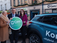 Mary Spring and Sarah O'Halloran with CEO of Cara Credit Union, receiving their prizes after winning car members draws in December and October.