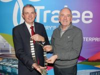 Outgoing President of Tralee Chamber Alliance, Aidan Kelly hands over the chain of office to new President Kevin McCarthy at the Chamber's AGM on Tuesday night at The Rose Hotel. Photo by Dermot Crean