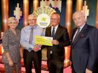 John Reidy form Dromulton, Co. Kerry has won €41,000 including a holiday to Madeira on last Saturday's (30th November 2019) National Lottery Winning Streak Game Show.  Pictured here at the presentation of the winners cheques were from left to right: Sinead Kennedy, Winning Streak co-host; John Reidy the winning recipient; Jim O'Connor, The National Lottery and Marty Whelan Winning Streak Game Show co-host. The winning ticket was bought from Garvey's, Church Street, Castleisland, Co. Kerry. Mac Innes Photography.