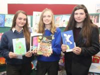 Michaela Harrington of Causeway Comprehensive School,  (runner-up), Katie O'Connor (winner) of Castleisland Community College and Shannia O'Brien of Coláiste Gleann Lí (runner-up) at the presentation of awards for the Kerry ETB Christmas Card competition. Photo by Dermot Crean