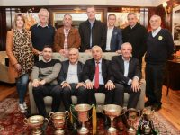 At the launch of the Kerry Supporters Club 30th Anniversary Social at Ballygarry House Hotel on Monday night were, front from left; Marc Ó Sé, Ger Power, Ogie Moran and Mikey Sheehy. Back from left; Leanne Ryan, John King, Martin Leane, Chairman of Kerry County Board Tim Murphy, Padraig McGillicuddy of Ballygarry House Hotel and Donie O'Leary, Chairman of Kerry Supporters Club. Photo by Dermot Crean