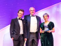Louise Cotter (right) accepts the Design Project of the Year award at the at the KPMG/Irish Independent Property Industry Excellence Awards at The Convention Centre, Dublin from Ger Harvey of OPW, with David Conway of Limerick 2030.