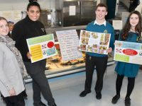 Teacher Lisa Healy with Mercy Mounthawk students Ciara Samy, Darragh Hennessy and Judith Waugh highlighting meat-free Monday at the school. Photo by Dermot Crean