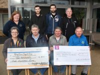 Breda Dyland (seated left) of Kerry Cancer Support Group and Joe Hennebery (seated right) of Kerry Hospice, receiving cheques thanks to a Movember Fundraising effort. Also included in front are Willie Dennehy and Martin Cane. At back; Linda Daly of Kerry Cancer Support Group, Thomas Raymond, Richard Raymond and Billy Hennessy. Photo by Dermot Crean