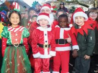 Moyderwell pupils who took part in the 'Jingle Bell Jog' on Tuesday. Photo by Dermot Crean