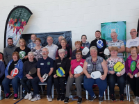 A group taking part in the Pickleball coaching day at John Mitchels GAA Complex on Monday.