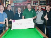 At the presentation of €500 by the Kerry Pool Association to Pieta House at The Huddle Bar were Philip Lawlor, Niall Marshall, Con O'Connor of Pieta House, Mike Moriarty, Tim Winters and Derek Hasell. Photo by Dermot Crean