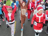 Participants at the start of the Santa 5k Run from the Tralee Bay Wetlands on Sunday morning. Photo by Dermot Crean