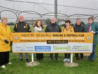 Mairead Fernane, Jim Naughton, Jan Rice of the Samaritans, Tim Guiheen, Anne Marie Healy, Niall Shanahan and Mairead Moriarty of the Samaritans at the new sign at Austin Stacks GAA grounds in Connolly Park. Photo by Dermot Crean