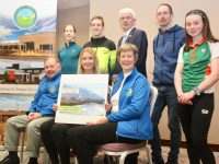 Launching the Tralee 10 Miler and 5k Road Race on Thursday at The Rose Hotel were, seated; Joe Hennebery, Kerry Hospice; Michelle Greaney, MG Coaching and Maura Sullivan, Kerry Hospice. At back; Doreen Moore (past category winner in the 5k), Derek Griffin (Overall winner in the 10 Miler in 2018), Mark Sullivan of The Rose Hotel, Stephen Moore (2019 2nd place overall in the 10 Miler) and Niamh O'Mahony (5k winner for the last two years). Photo by Dermot Crean