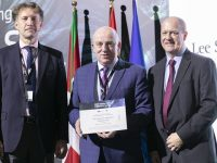 Lee Strand wins prestigious European Environmental Award at the EMAS Awards in Bilboa in Spain (l to r) Kestutis Sadauskas, Director Green Economy, European Commission; Jerry Dwyer, Milk Operations Manager, Lee Strand and Martin Baxter, Chair of the EMAS Awards Jury 2019. Photo credit: European Commission.