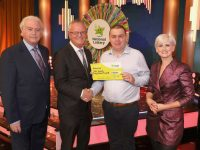Ger Somers from Rathmore, Co. Kerry has won €31,000 on last Saturday's (25th January 2020) National Lottery Winning Streak Game Show.  Pictured here at the presentation of the winners cheques were from left to right: Marty Whelan, Winning Streak co-host; Jim O'Connor, The National Lottery: Ger Somers the winning recipient and Sinead Kennedy, Gameshow host. The winning ticket was bought from Applegreen Service Station, Muckross Road, Dromhale, Klllarney, Co. Kerry. Pic. Mac Innes Photography