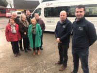 eft Back Pat McCarthy(Half Way Shop), Fionnan Fitzgerald(Secretary of Ballymac Community Alert).. in front of them are some of the passengers from the today's service and to the right it's James Ryall(Operator of the R72) & Aidan Savage Business Development Manager Local Link Kerry.