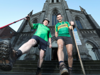 Former Kerry GAA Player Aidan O'Mahony and CRY Trustee Liam Herlihy pictured at the launch of the Camino de Santiago in aid of CRY Ireland outside St.James Church, Dublin where the Camino Society of Ireland is located.