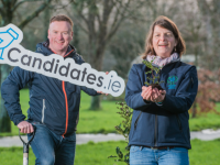 Brian Stephenson of candidates.ie and Rachel Geary, LEAF Coordinator with EEU An Taisce  launching the partnership where they hope election candidates sign up help the environment. Photo: Pauline Dennigan