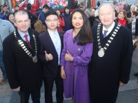 Tralee Chamber Alliance President Kevin McCarthy and Mayor of Tralee Jim Finucane with Chris Chong Whi and Bial Dong Mei at the opening of the Chinese New Year Festival in Tralee on Saturday. Photo by Dermot Crean