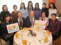 Launching the upcoming Chinese New Year Festival at Tamarind Restaurant on Tuesday were, seated from left; Angelina Ong of Tamarind, President of Tralee Chamber Alliance Kevin McCarthy, Mayor of Tralee Cllr Jim Finucane, Angie Baily and Chris Sun of Hillbillys Tralee. At back are nursing students at IT Tralee from China. Photo by Dermot Crean