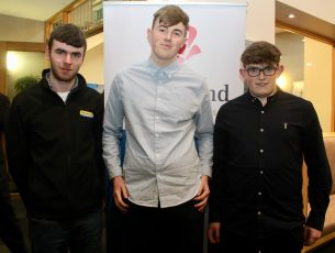 Community Safety Award winners Mike Carroll, Michael Kirby and Padraig Crean of CBS The Green at the Lee Strand Garda Youth Achievement Awards in the Ballyroe Heights Hotel on Friday. Photo by Dermot Crean