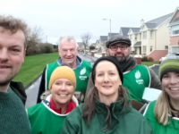 Green Party candidate Cleo Murphy (centre) with Tralee canvassers in Caherslee.