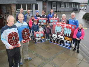 In front; Frank O'Connor and Club Chairman Haulie Kerins are joined by club members at the launch of the Kerins O'Rahillys 10k/5k run on Saturday. Photo by Dermot Crean