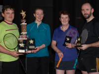 The Ballyheigue Badminton Tournament took place Ballyheigue Community Centre Sunday 26 January  This photograph shows, The Division 4 Tournament winners, Radek Choromanski  Moyvane  &  Andrae Burke Limerick, along with Runners up Mary Bradley Kingdom Castleisland & Mike Lucid Ballyheigue.