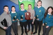 The winning team from Mercy Mounthawk, Charlotte Calleja O'Halloran, Sean Hennessy  Timothy Grimes and Mairead Kearney with teacher Patrick Lyne and Eddie Lacey of sponsors Aspen Grove Solutions at the Kerry branch of the Irish Maths Teachers Association quiz at the ITT South Campus on Friday  evening. Photo by Dermot Crean