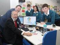 MEP Sean Kelly with teacher Will Nolan and students Oisin McGibney, Kim McTigue and Cian Mason at the launch of the STEAM Academy at Mercy Mounthawk on Friday. Photo by Dermot Crean