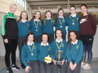 The Mercy Mounthawk Spikeball team which won the All-Ireland title on Thursday. Front from left; Jessica McGibney, Sophie Hassett, Aoibhín O'Connor McCarthy and Rachel O'Mahony. Standing from left; Olivia Dineen (coach), Aoife O'Brien, Lily Collins, Shannon Martin, Millie O'Brien, Kelly Fitzgerald and Amanda Brosnan (coach). Photo by Dermot Crean