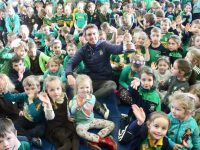 Na Gaeil captain, Eoin Doody, at Gaelscoil Mhic Easmainn on Tuesday. Photo by Dermot Crean