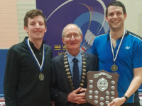 Fergal Hannon from Listowel receiving his runner-up prize in the Men's Grade C Singles Championship in UL Arena