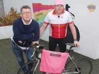 Tommy Sheehy (right) who is raising funds with a series of spinathons over the next few months, with Sean Scally of Enable Ireland Kerry. Photo by Dermot Crean