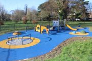 The new play facility in the Town Park playground.