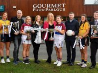 29 January 2020; Gourmet Food Parlour is celebrating the passion of Ladies Footballers to mark the launch of the 2020 GFP Ladies HEC Third Level Championships. In attendance at the launch are, from left, Laura McGinley of DCU and Dublin, Donal Barry, HEC Chairperson, Eilish Ronayne of UL and Mayo, Helen O'Rourke, CEO LGFA, Lorraine Heskin, CEO, Gourmet Food Parlour, Hannah O'Donoghue of UL and Kerry, Tomás O Sé, GFP Ambassador, Muireann Atkinson of DCU and Monaghan and Con Moynihan, LGFA. Photo by David Fitzgerald/Sportsfile *** NO REPRODUCTION FEE ***