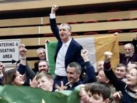 Pa Daly held aloft by supporters at the count centre tonight.