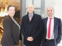 The Ashe Hotel Group GM Ruth O'Sullivan with Mark Noonan and Damien McMahon of McCarthy Insurance Group at The Ashe Hotel on Wednesday. Photo by Dermot Crean
