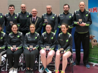 The Munster Grade C. Inter County Badminton Competition was played in UL Lmerick on Sunday 9th February,  This photograph shows, The Kerry  Grade C.Team who  were winners on the day.    Front Row, L/R: Niamh Hickey,  Elaine Hudson, Edel Kenny,  Maeve Twomey, Niamh Flaherty. Back Row  L/R: Alan Nelligan, Fergal Hannon,  Tom Bourke, Team Manager  Michael McGrath President Munster Badminton, Michael Crosson, Donie Enright, Eric Nelligan.