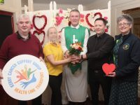 Looking forward to the Valentine's Wedding Night in Kirby's Brogue Inn were Dan Horan of Kerry Cancer Support Group, Noreen O'Mahony, 'Father' Vinnie Murphy and Austin Fitzmaurice and Breda Dyland of Kerry Cancer Support Group. Photo by Dermot Crean