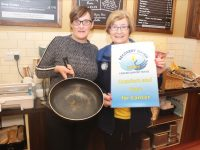 Fiona Kirby of the Brogue Inn and Maureen O'Brien of Recovery Haven launch the Pancake Tuesday fundraiser on February 25. Photo by Dermot Crean