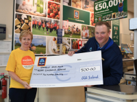 Catherine Healy from Enable Ireland Kerry Children's Services with Declan McCann, Aldi Rathass, Tralee's 'Charity Champion'.