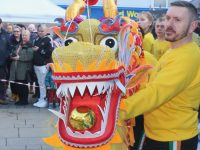 The 'Lion and Dragon Ritual' performers in The Square on Saturday. Photo by Dermot Crean