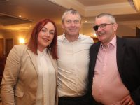 Deirdre Ferris with newly elected TD Pa Daly and Padraig Sugrue, who was also put up for selection, at the convention last night. Photo by Dermot Crean