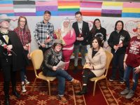 Looking forward to the 'Into-Me-See' on Sunday night in The Meadowlands Hotel were, seated; writer and director Fidelma Fitzgerald and poet Louise Ward. Back; Pierse O'Brien, Chloe Hudd, Katie Moloney, Namejs Balodis, Owen Rua Herlihy, Karen Conway, Regina O'Connor and Joanne Bolton. Photo by Dermot Crean