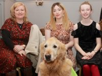 Shirley Shanahan, Tara Lynch and Clodagh Shanahan with Vasco at the 'Puppy Love' Dance in aid of Irish Guide Dogs For The Blind at The Meadowlands Hotel on Friday night. Photo by Dermot Crean