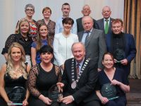 Cathaoirleach  Tralee Municipal District, Cllr Jim Finnucane  presenting receipients, Louise Quill, Elaine Burrows Dillane, Francie Conway, Brian Walsh with their awards,  at the Kerry County Council Annual Awards, at the Great Southern, Killarney on Friday night. Also included is Deputy Norma Foley, TD, Cllr Sam Locke, Cllr Cathal Foley, Michael Scannell, Director of Services, Kerry County Council. Photo: Valerie O'Sullivan/FREE PIC