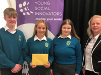 Students from Mercy Secondary School Mounthawk , Tralee, were delighted to receive funding for their YSI project 'Laws for Paws'. The team pitched their YSI project to the panel of Den dragons to secure funding to scale up their social innovation idea.