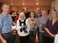 Fleadh quiz winners in Faha Court Bar, from left: Turlough O'Brien,with winners Kate Landers, Liz Williams and Andrew Pigott, with Louise O'Shea, and back, Fleadh 2020 Chairman Vincent Prendergast with winning team member Adrian Williams.